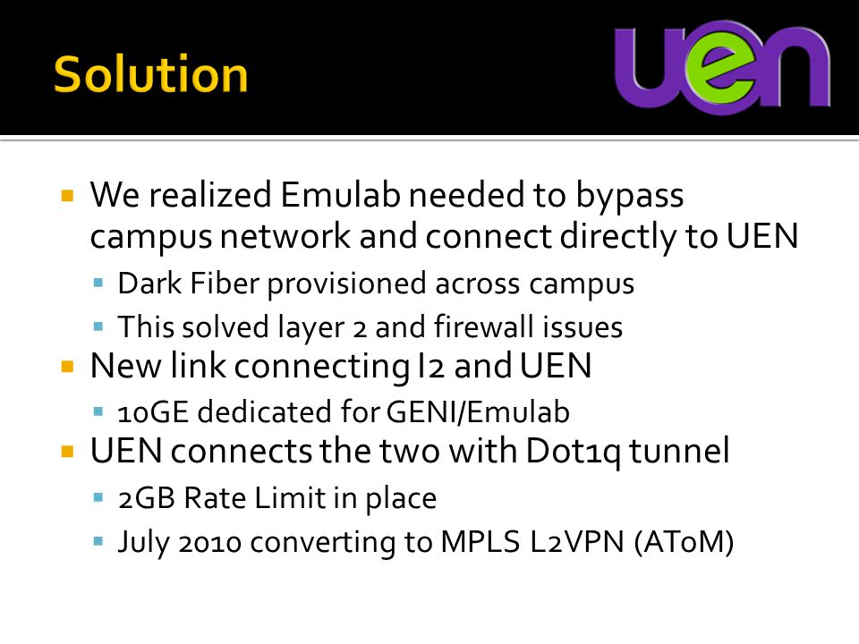 We realized Emulab needed to bypass campus network and connect directly to UEN  Dark Fiber provisioned across campus  This solved layer 2 and firewall issues  New link connecting I2 and UEN  10GE dedicated for GENI/Emulab  UEN connects the two with Dot1q tunnel  2GB Rate Limit in place  July 2010 converting to MPLS L2VPN (AToM)