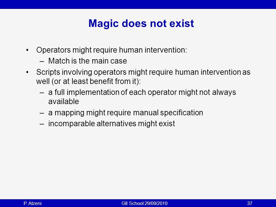 P. AtzeniGII School 29/09/201037 Magic does not exist Operators might require human intervention: –Match is the main case Scripts involving operators
