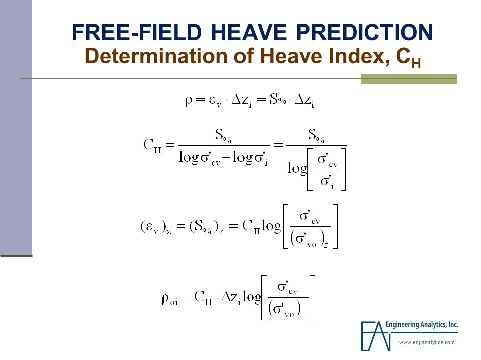 www.enganalytics.com FREE-FIELD HEAVE PREDICTION Determination of Heave Index, C H