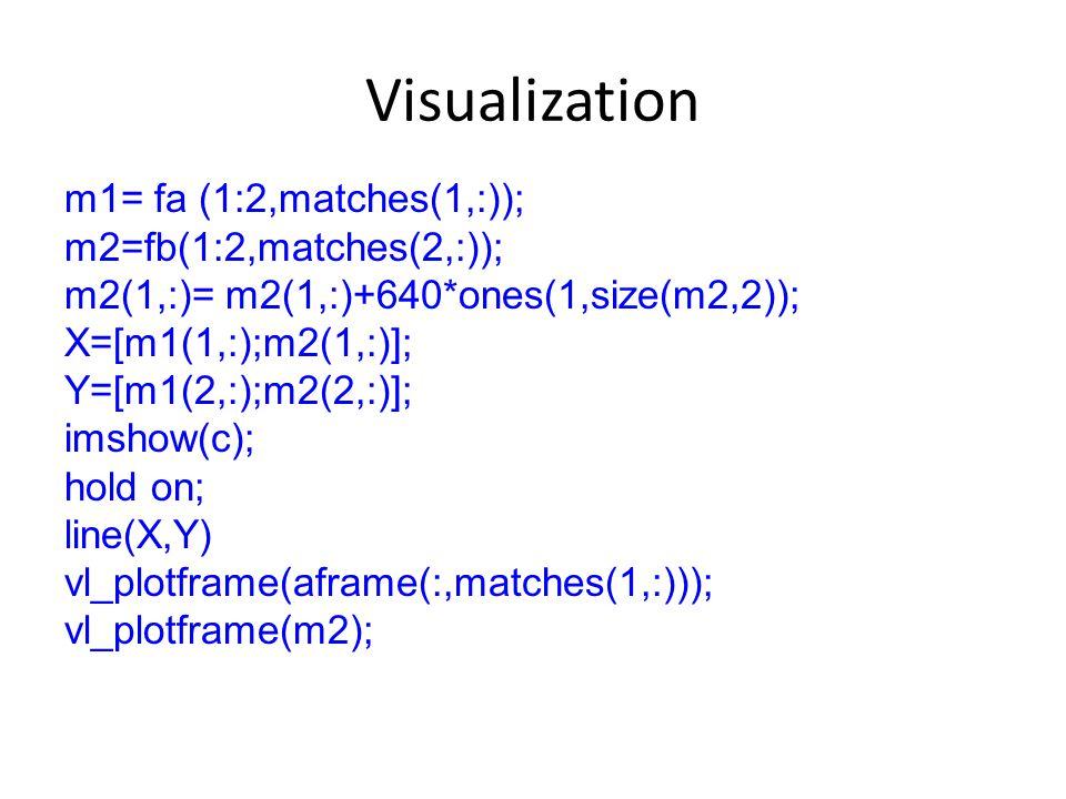 Visualization m1= fa (1:2,matches(1,:)); m2=fb(1:2,matches(2,:)); m2(1,:)= m2(1,:)+640*ones(1,size(m2,2)); X=[m1(1,:);m2(1,:)]; Y=[m1(2,:);m2(2,:)]; imshow(c); hold on; line(X,Y) vl_plotframe(aframe(:,matches(1,:))); vl_plotframe(m2);