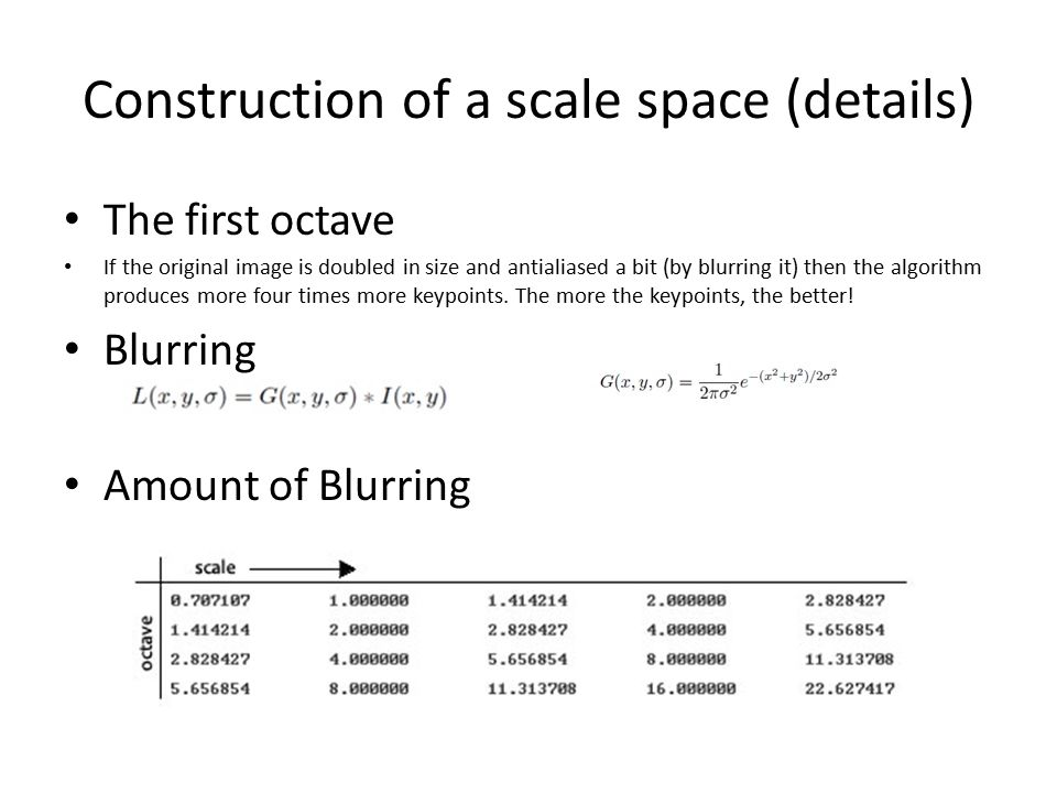 Construction of a scale space (details) The first octave If the original image is doubled in size and antialiased a bit (by blurring it) then the algorithm produces more four times more keypoints.
