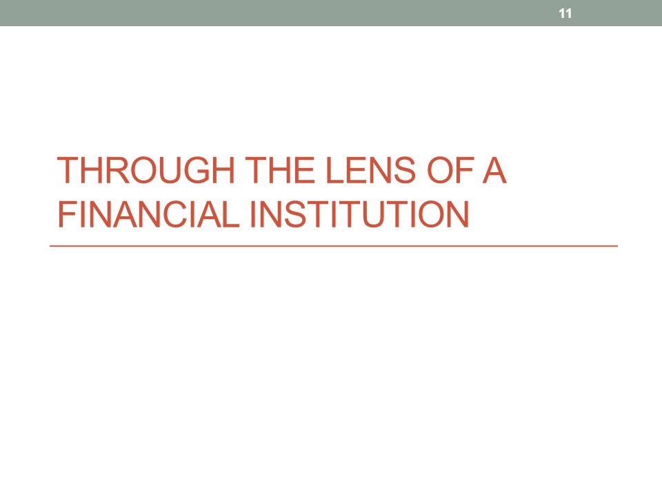 THROUGH THE LENS OF A FINANCIAL INSTITUTION 11