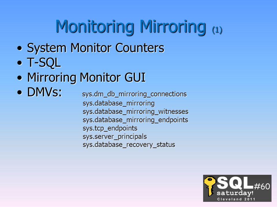 Monitoring Mirroring (1) System Monitor CountersSystem Monitor Counters T-SQLT-SQL Mirroring Monitor GUIMirroring Monitor GUI DMVs: sys.dm_db_mirrorin