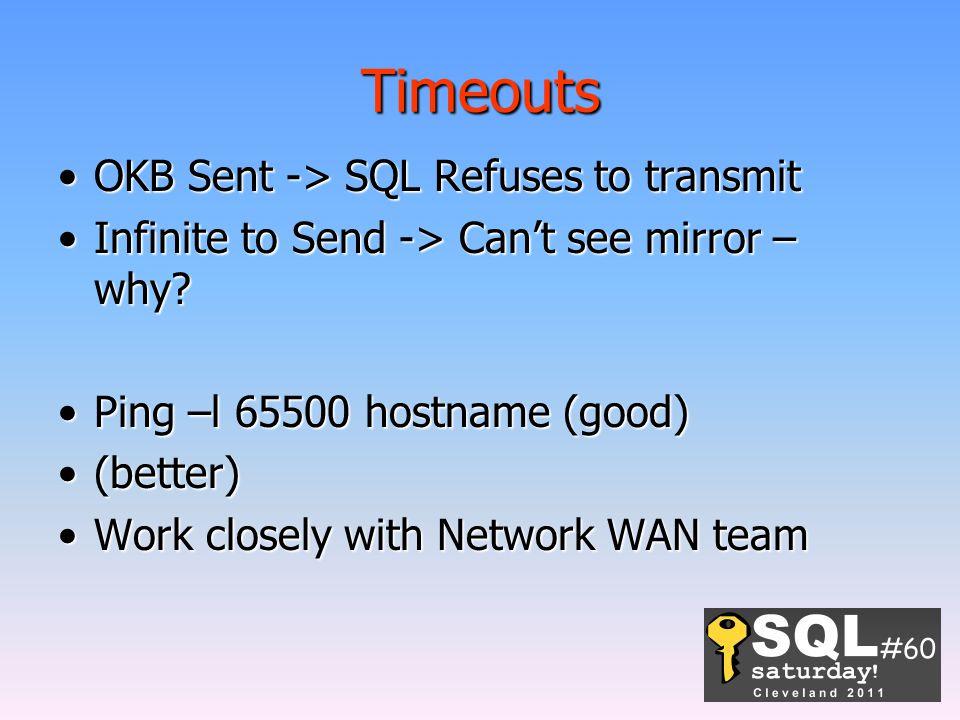 Timeouts OKB Sent -> SQL Refuses to transmitOKB Sent -> SQL Refuses to transmit Infinite to Send -> Can't see mirror – why?Infinite to Send -> Can't s