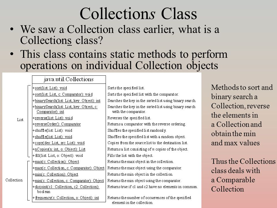 Collections Class We saw a Collection class earlier, what is a Collections class? This class contains static methods to perform operations on individu