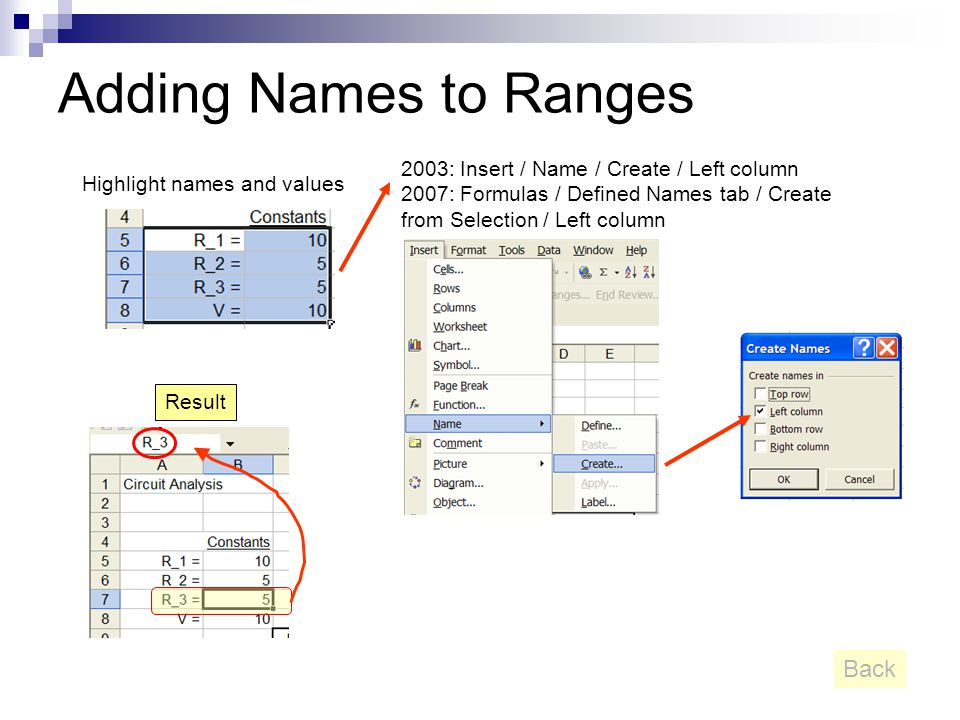 Adding Names to Ranges Highlight names and values 2003: Insert / Name / Create / Left column 2007: Formulas / Defined Names tab / Create from Selectio