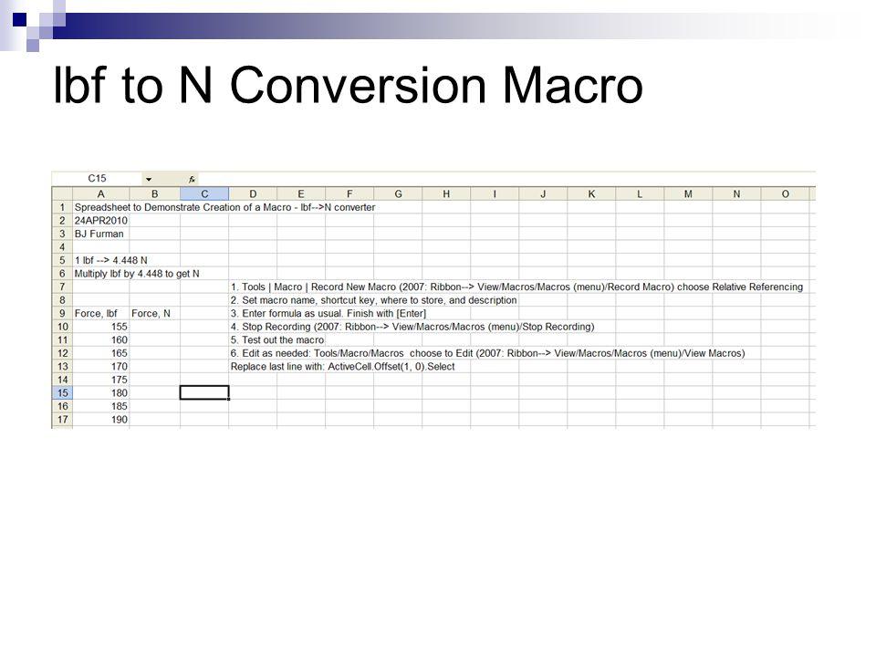 lbf to N Conversion Macro