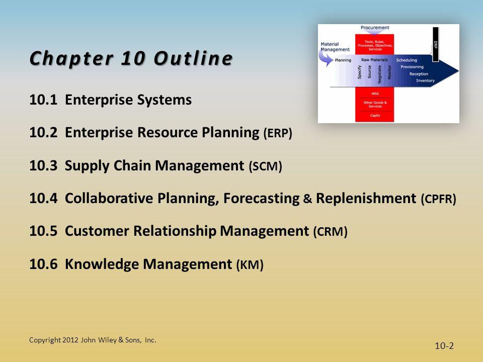 Chapter 10 Outline 10.1 Enterprise Systems 10.2 Enterprise Resource Planning (ERP) 10.3 Supply Chain Management (SCM) 10.4 Collaborative Planning, For