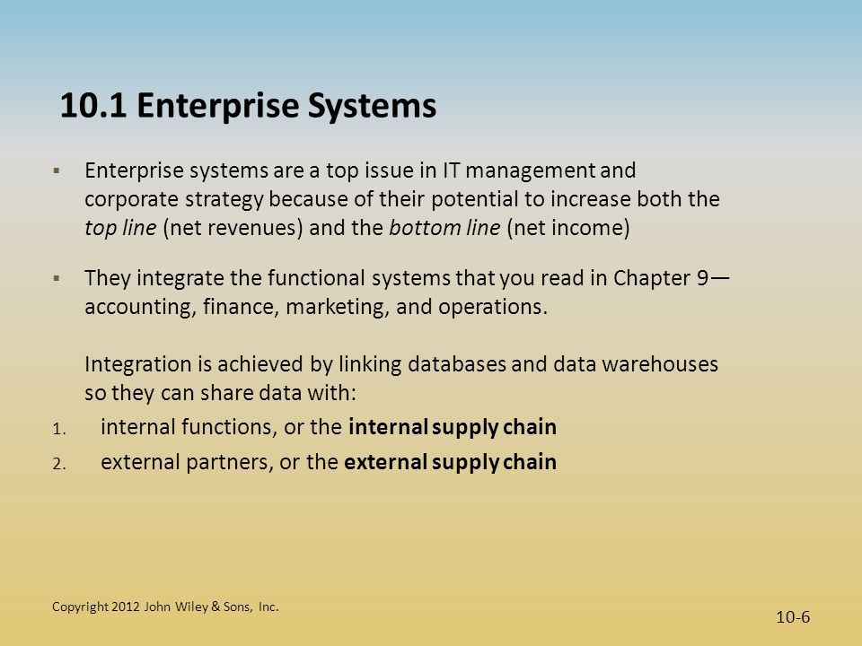10.1 Enterprise Systems  Enterprise systems are a top issue in IT management and corporate strategy because of their potential to increase both the t
