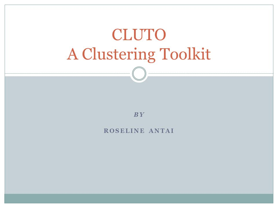 BY ROSELINE ANTAI CLUTO A Clustering Toolkit