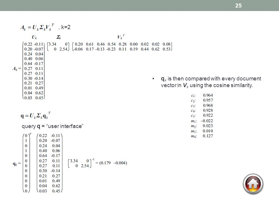 25 q k is then compared with every document vector in V k using the cosine similarity., k=2 query q = user interface