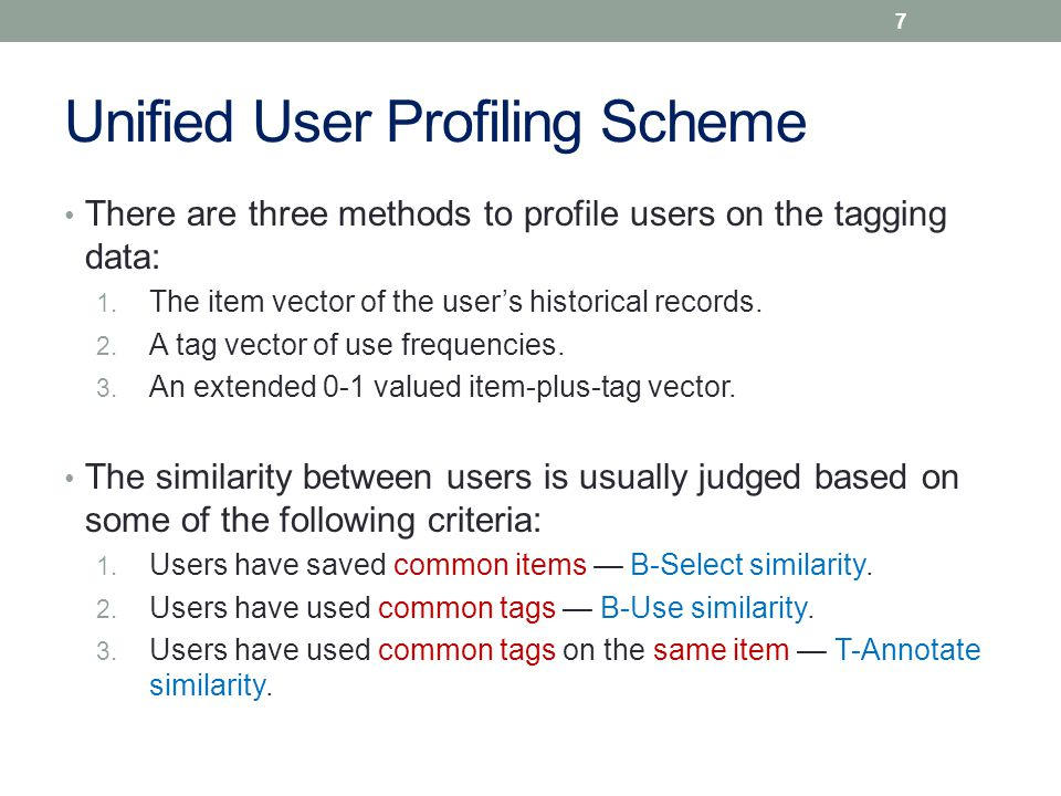 Unified User Profiling Scheme There are three methods to profile users on the tagging data: 1.