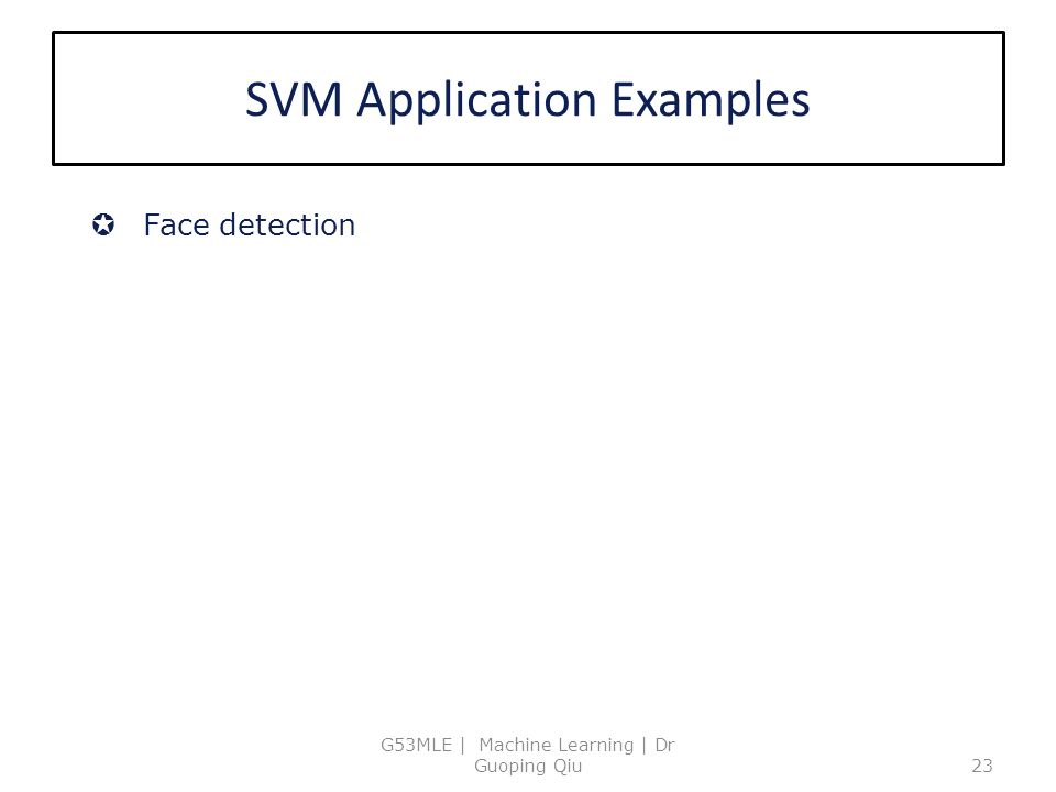 SVM Application Examples G53MLE | Machine Learning | Dr Guoping Qiu23  Face detection