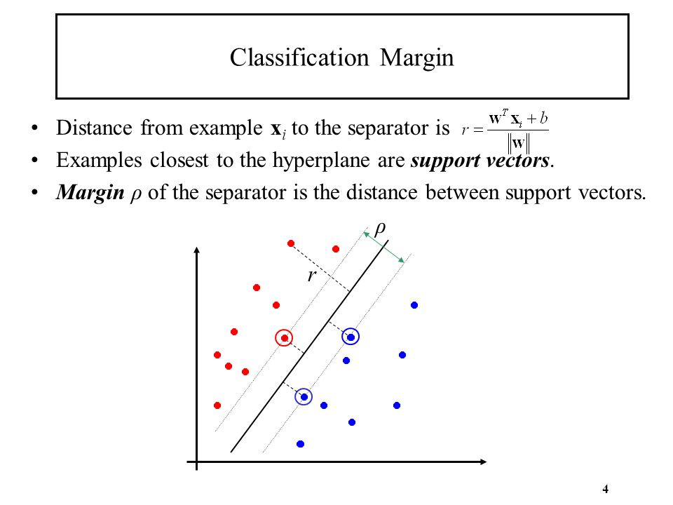 4 Classification Margin Distance from example x i to the separator is Examples closest to the hyperplane are support vectors. Margin ρ of the separato