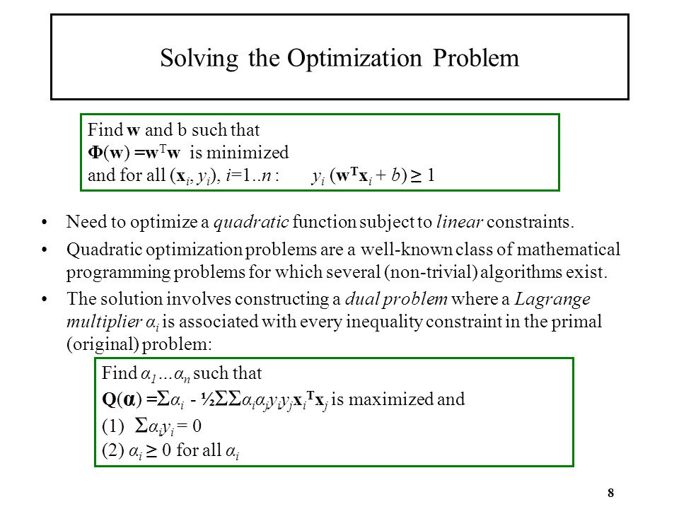 8 Solving the Optimization Problem Need to optimize a quadratic function subject to linear constraints. Quadratic optimization problems are a well-kno