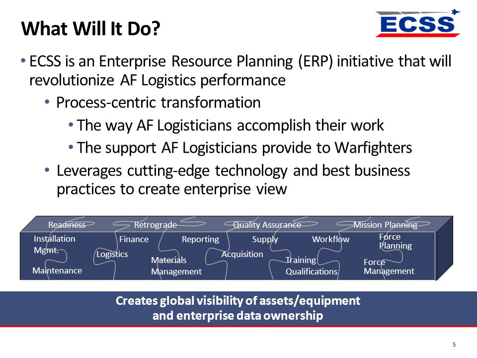 What Will It Do? 5 ECSS is an Enterprise Resource Planning (ERP) initiative that will revolutionize AF Logistics performance Process-centric transform