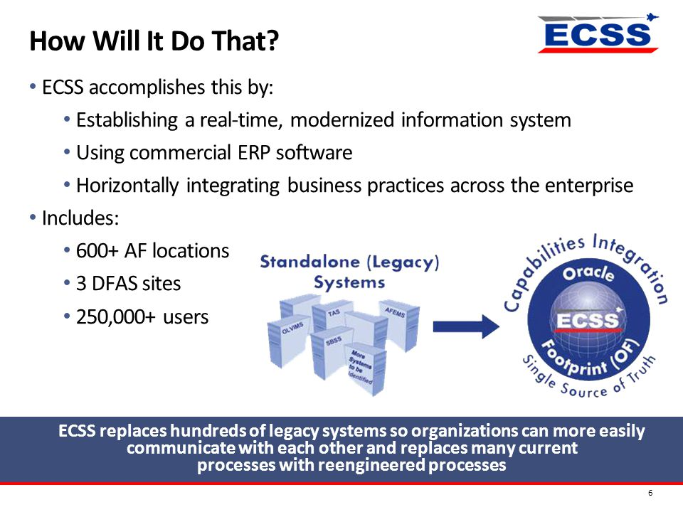 How Will It Do That? 6 ECSS accomplishes this by: Establishing a real-time, modernized information system Using commercial ERP software Horizontally i