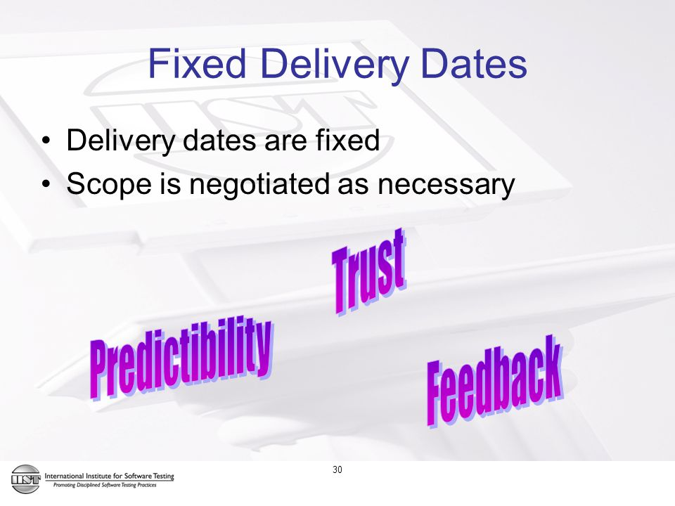 Fixed Delivery Dates Delivery dates are fixed Scope is negotiated as necessary 30