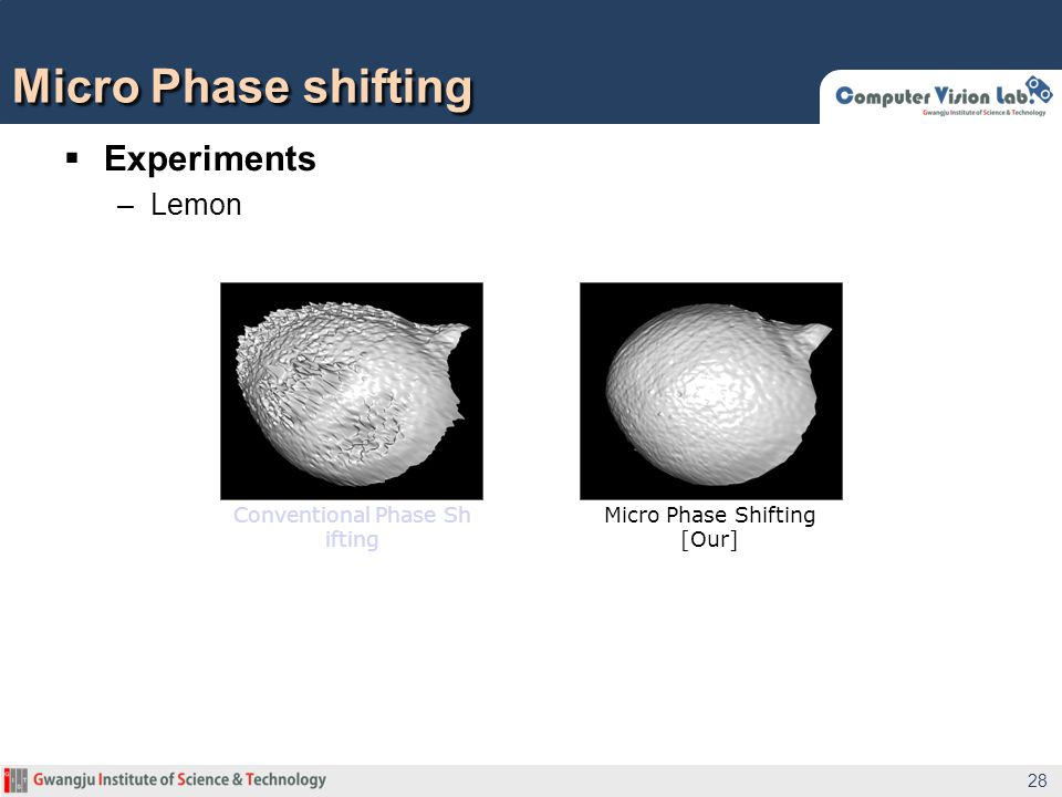  Experiments –Lemon Micro Phase shifting 28 Conventional Phase Sh ifting Micro Phase Shifting [Our]