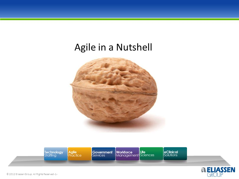 © 2012 Eliassen Group. All Rights Reserved -1- Agile in a Nutshell