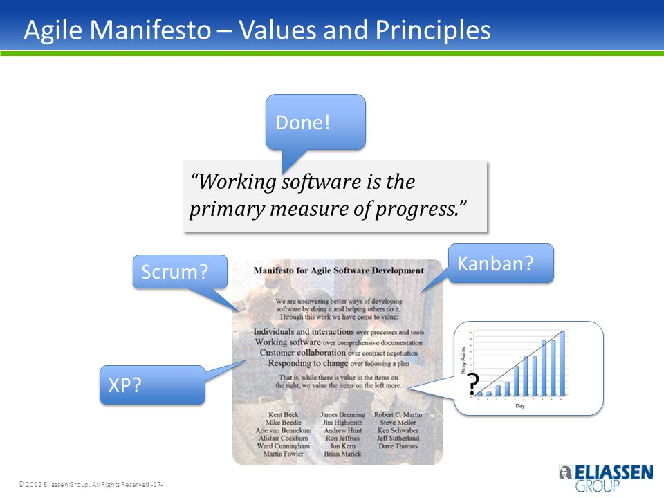 """© 2012 Eliassen Group. All Rights Reserved -17- Agile Manifesto – Values and Principles """"Working software is the primary measure of progress."""" Done! S"""