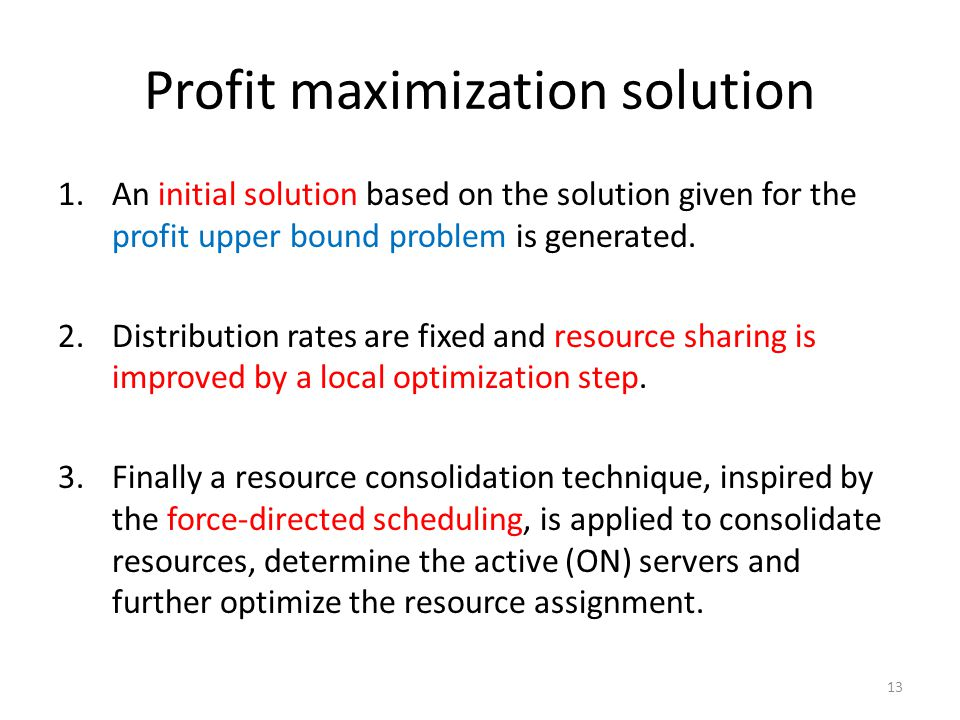 Profit maximization solution 1.An initial solution based on the solution given for the profit upper bound problem is generated. 2.Distribution rates a