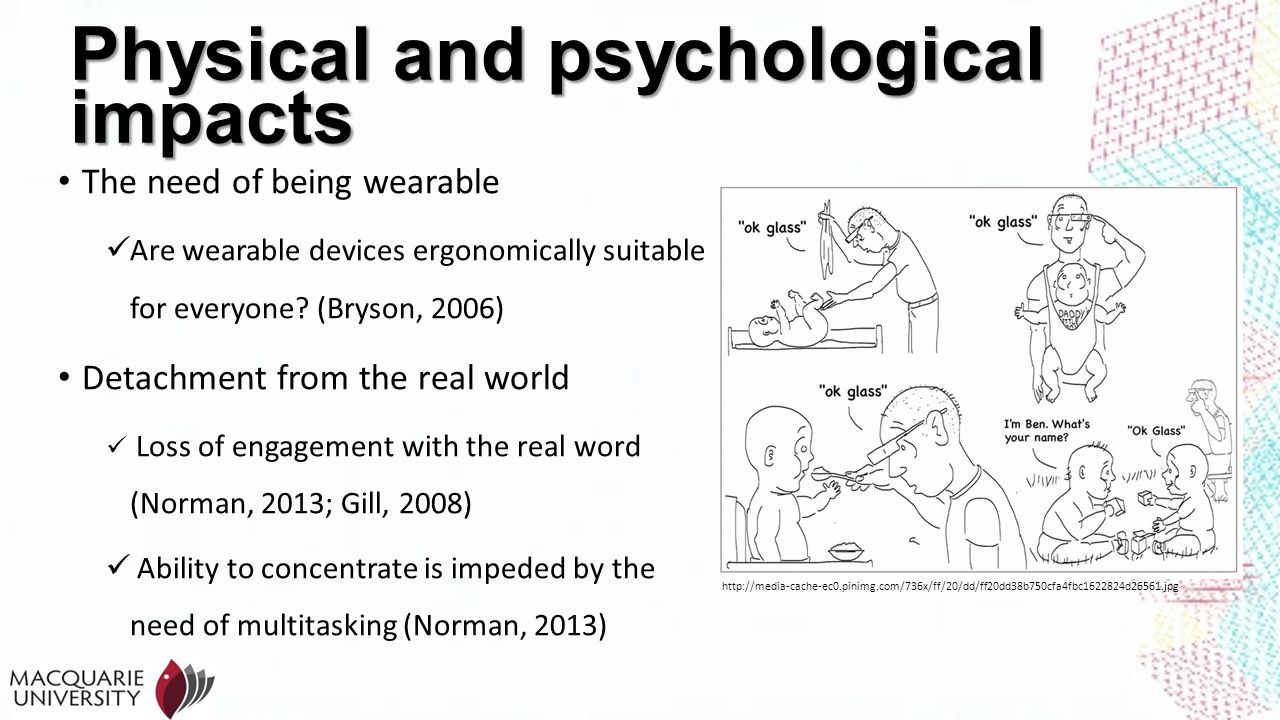 Physical and psychological impacts The need of being wearable Are wearable devices ergonomically suitable for everyone? (Bryson, 2006) Detachment from
