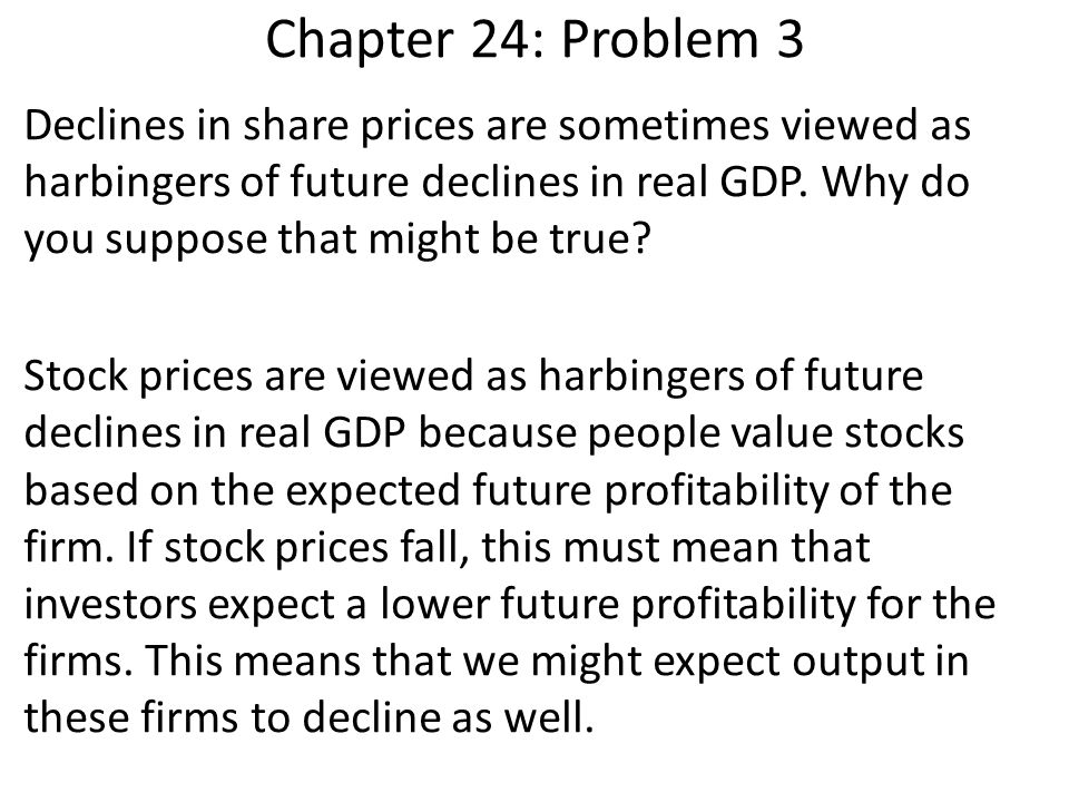 Chapter 24: Problem 3 Declines in share prices are sometimes viewed as harbingers of future declines in real GDP. Why do you suppose that might be tru