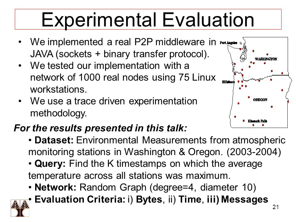 21 Experimental Evaluation We implemented a real P2P middleware in JAVA (sockets + binary transfer protocol).