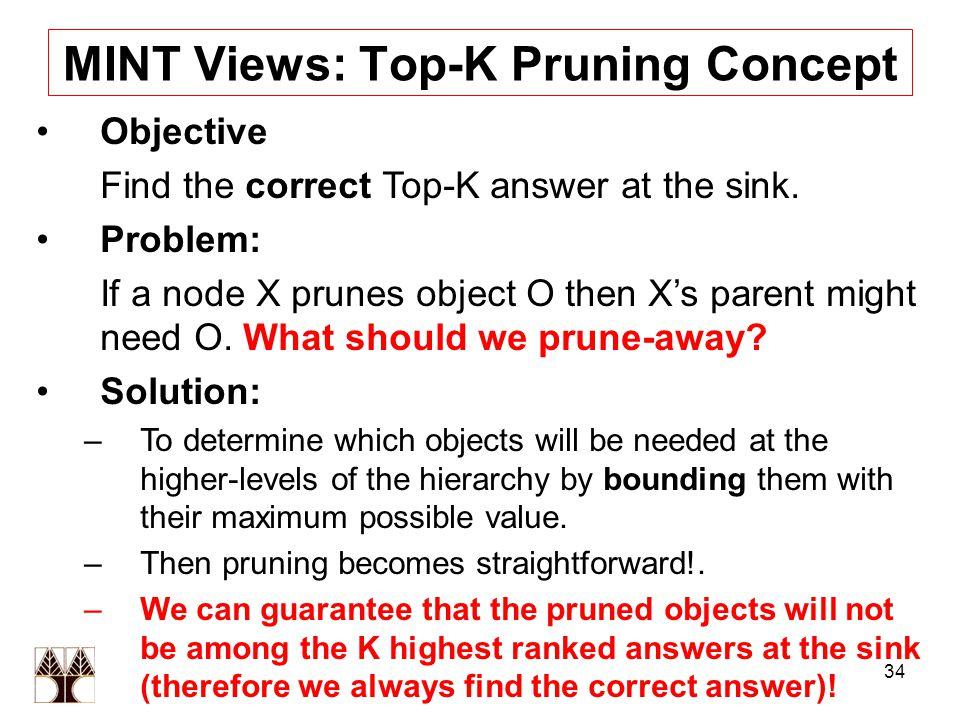 34 ΜΙΝΤ Views: Top-K Pruning Concept Objective Find the correct Top-K answer at the sink. Problem: If a node X prunes object O then X's parent might n