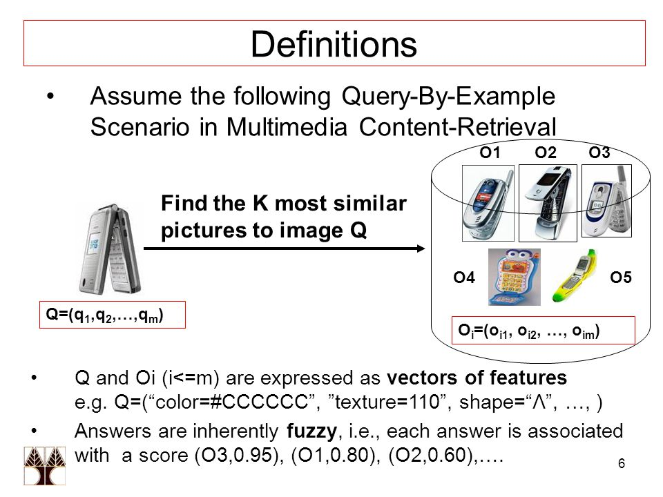 6 Definitions Assume the following Query-By-Example Scenario in Multimedia Content-Retrieval Find the K most similar pictures to image Q Q and Oi (i<=m) are expressed as vectors of features e.g.