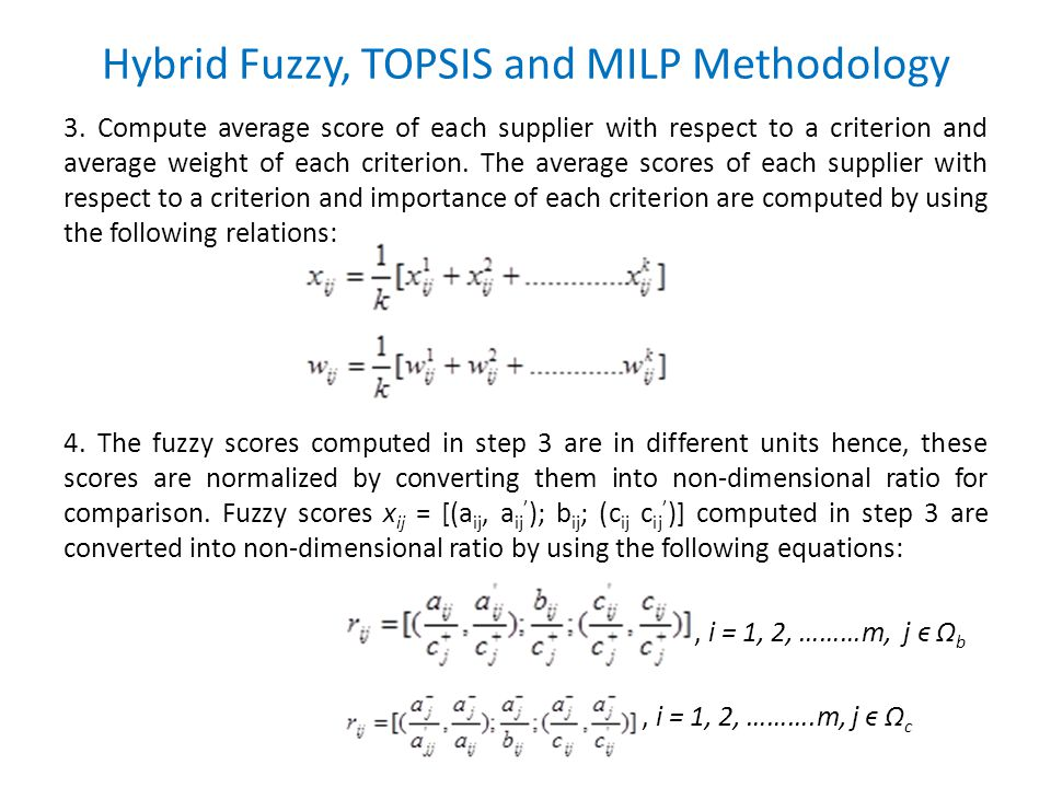 Hybrid Fuzzy, TOPSIS and MILP Methodology 3.