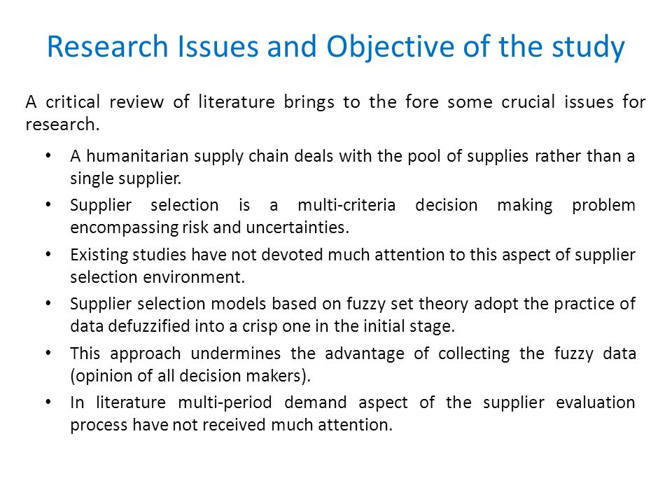 Research Issues and Objective of the study A critical review of literature brings to the fore some crucial issues for research.