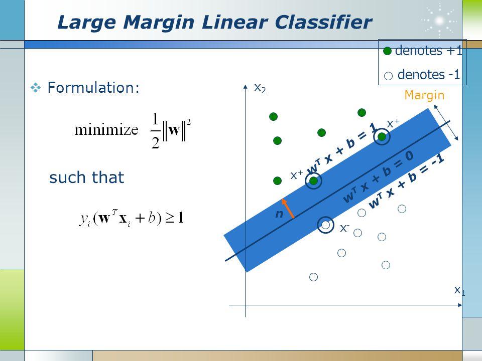 Large Margin Linear Classifier  Formulation: x1x1 x2x2 denotes +1 denotes -1 Margin w T x + b = 0 w T x + b = -1 w T x + b = 1 x+x+ x+x+ x-x- n such