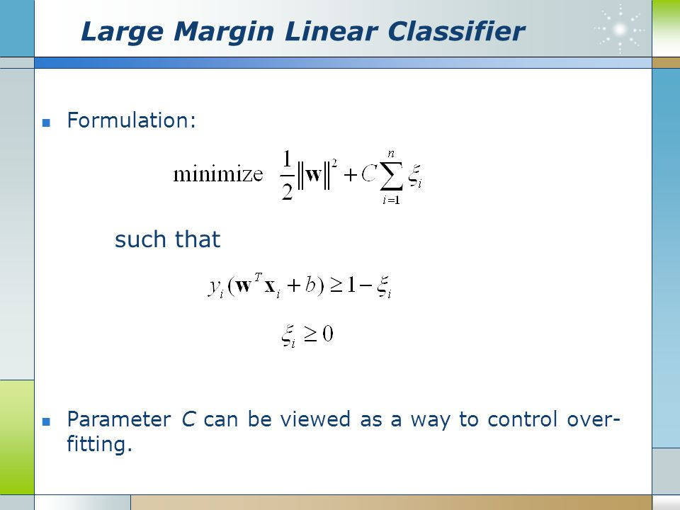 Large Margin Linear Classifier Formulation: such that Parameter C can be viewed as a way to control over- fitting.