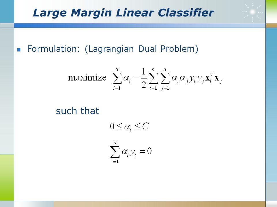 Large Margin Linear Classifier Formulation: (Lagrangian Dual Problem) such that