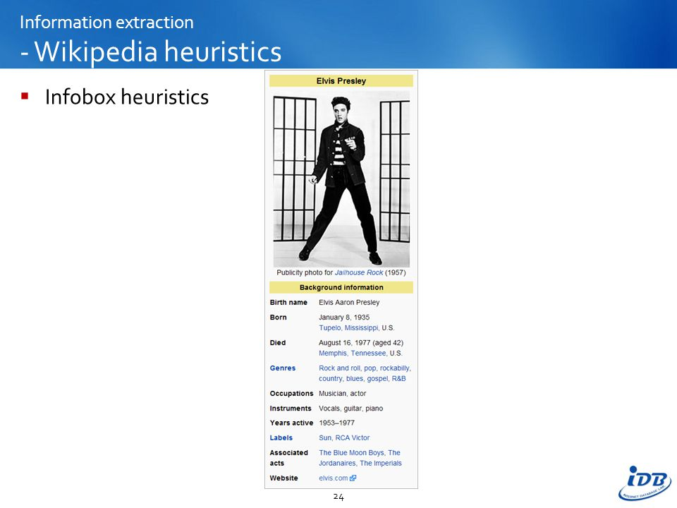 Information extraction - Wikipedia heuristics  Infobox heuristics 24
