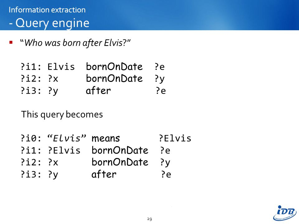Information extraction - Query engine  Who was born after Elvis? ?i1: Elvis bornOnDate ?e ?i2: ?x bornOnDate ?y ?i3: ?y after ?e This query becomes ?i0: Elvis means ?Elvis ?i1: ?Elvis bornOnDate ?e ?i2: ?x bornOnDate ?y ?i3: ?y after ?e 29
