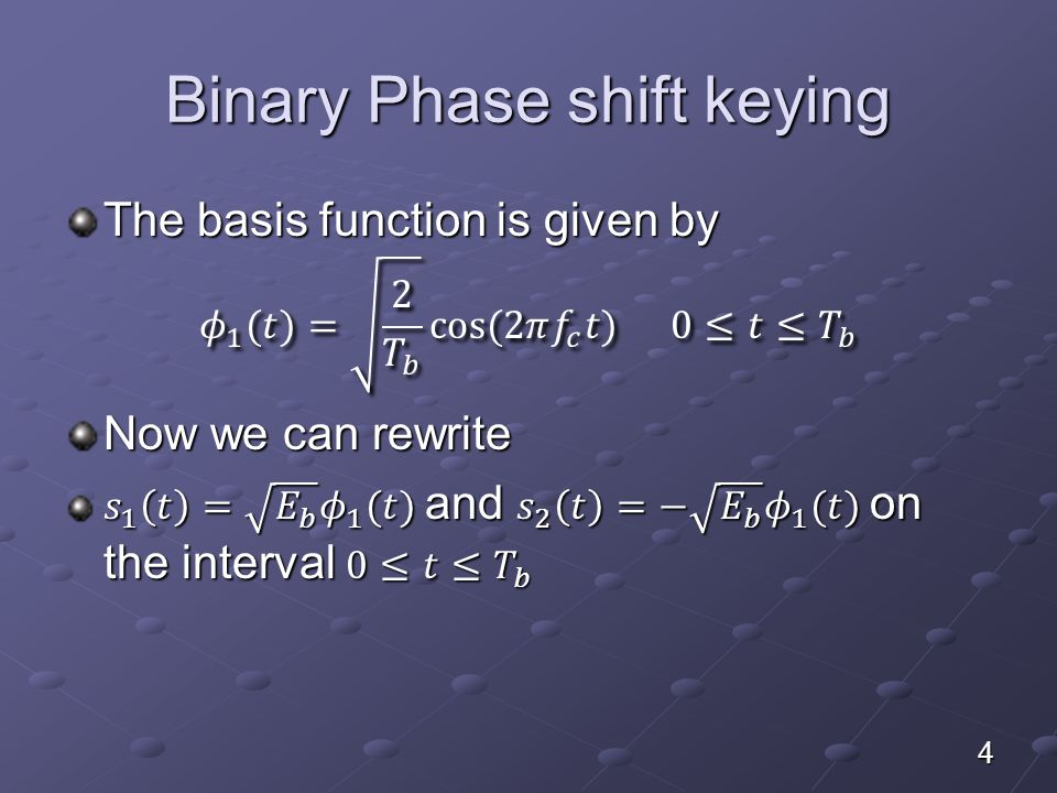 Generation of BPSK signals The resulting binary wave and the carrier (basis function) are applied to product multiplier as shown below 15