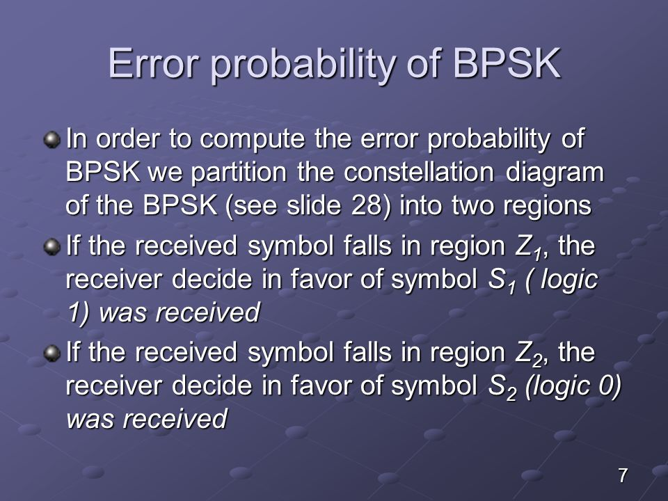 Error probability of BPSK- Receiver model 8