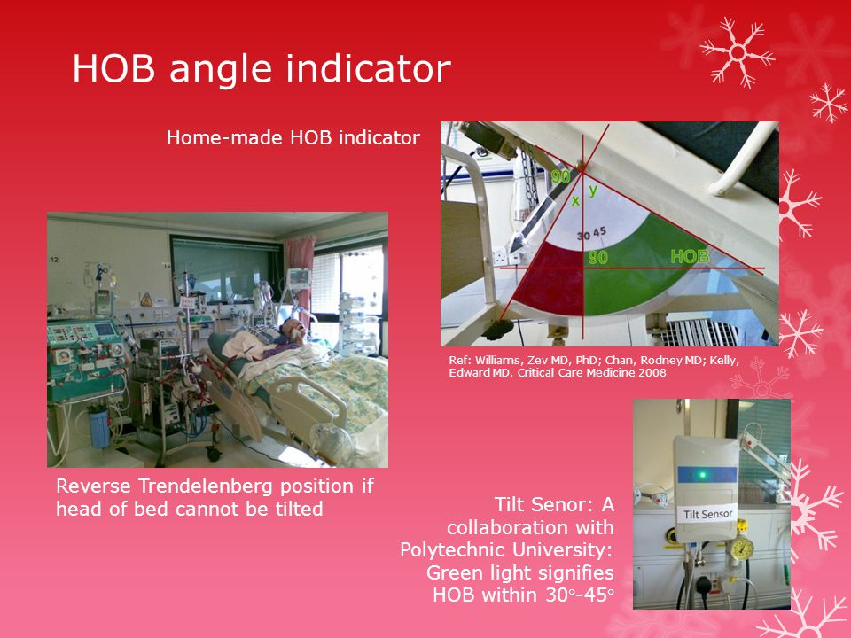 Home-made HOB indicator Reverse Trendelenberg position if head of bed cannot be tilted Tilt Senor: A collaboration with Polytechnic University: Green light signifies HOB within 30-45 HOB angle indicator Ref: Williams, Zev MD, PhD; Chan, Rodney MD; Kelly, Edward MD.