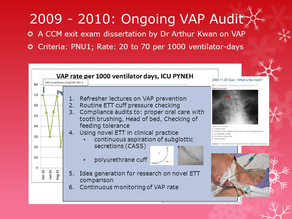2009 - 2010: Ongoing VAP Audit  A CCM exit exam dissertation by Dr Arthur Kwan on VAP  Criteria: PNU1; Rate: 20 to 70 per 1000 ventilator-days 1.Refresher lectures on VAP prevention 2.Routine ETT cuff pressure checking 3.Compliance audits to: proper oral care with tooth brushing, Head of bed, Checking of feeding tolerance 4.Using novel ETT in clinical practice continuous aspiration of subglottic secretions (CASS) polyurethrane cuff 5.Idea generation for research on novel ETT comparison 6.Continuous monitoring of VAP rate