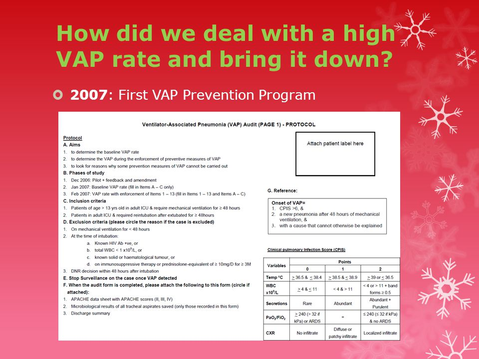 How did we deal with a high VAP rate and bring it down  2007: First VAP Prevention Program