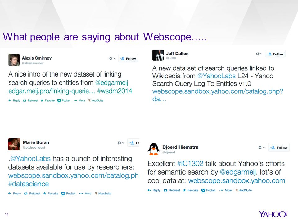 What people are saying about Webscope….. 13