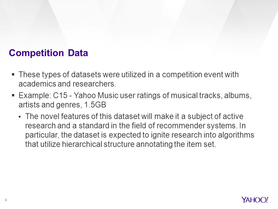 Competition Data 8  These types of datasets were utilized in a competition event with academics and researchers.  Example: C15 - Yahoo Music user ra