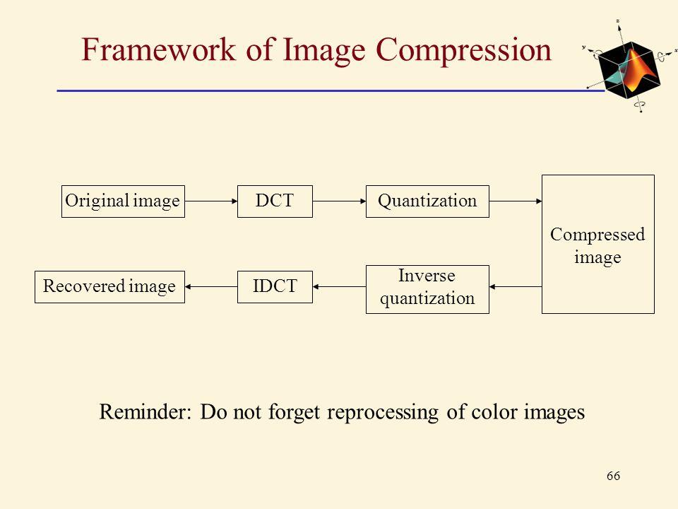 66 Framework of Image Compression Original imageDCT Reminder: Do not forget reprocessing of color images Quantization Compressed image Recovered image