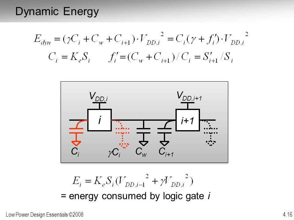 Low Power Design Essentials ©2008 4.16 = energy consumed by logic gate i Dynamic Energy i i+1 CwCw CiCi CiCi C i+1 V DD,i+1 V DD,i