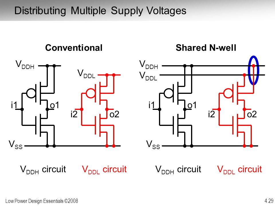 Low Power Design Essentials ©2008 4.29 i1o1 V DDH V DDL V SS Conventional V DDH circuitV DDL circuit i2o2 i1o1 V DDH V DDL V SS Shared N-well V DDH ci