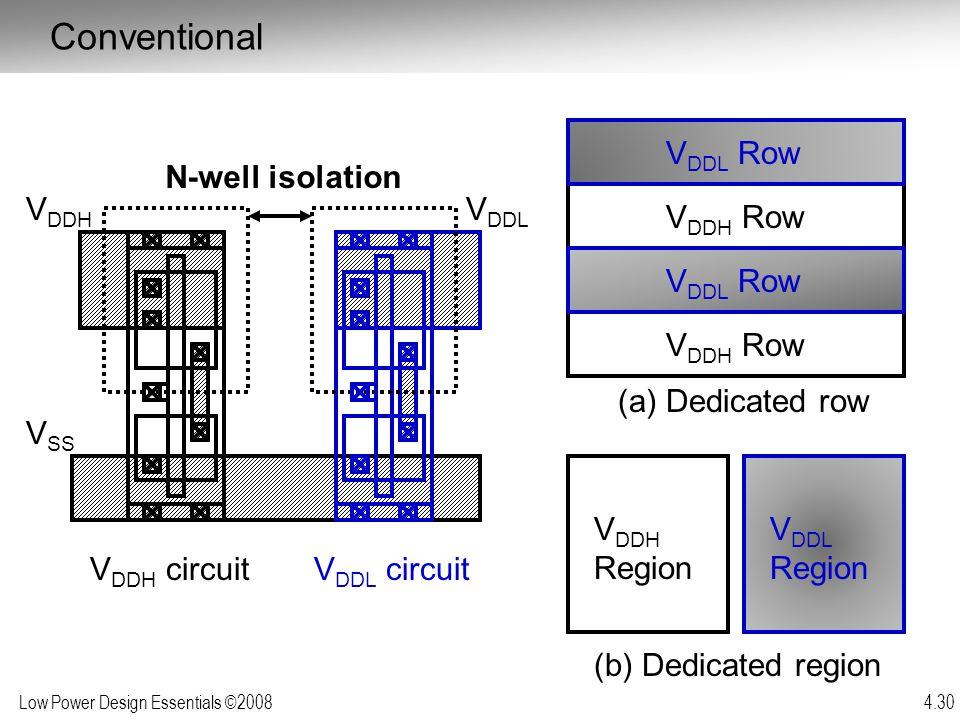 Low Power Design Essentials ©2008 4.30 V DDH circuit V DDH V DDL V SS N-well isolation V DDL circuit (a) Dedicated row (b) Dedicated region V DDH Row