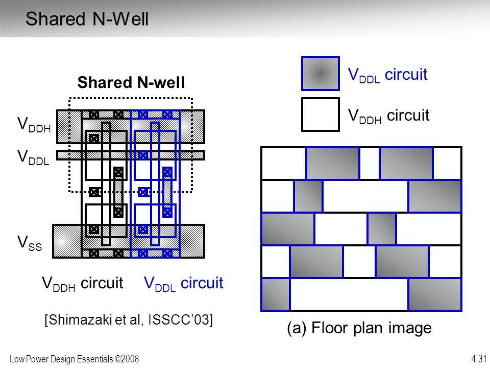 Low Power Design Essentials ©2008 4.31 V DDH circuit V DDH V DDL V SS Shared N-well V DDL circuit (a) Floor plan image V DDL circuit V DDH circuit Sha
